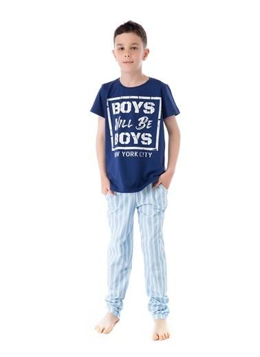 Pamuk & Pamuk Mavi Çizgili Genç Erkek Pijama Takım Renkli